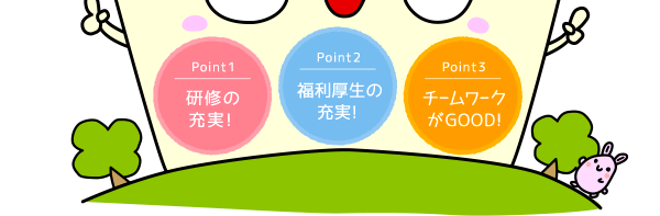 Point1・研修の充実!、Point2・福利厚生の充実!、Point3・チームワークがGOOD!
